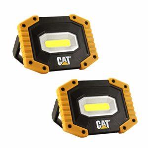 CAT luces de trabajo CT5002PK CAT super brillante, portátil compacto LED proyectos de interior y al aire libre camping coche trabajo sitio iluminación (paquete de 2 Luces)