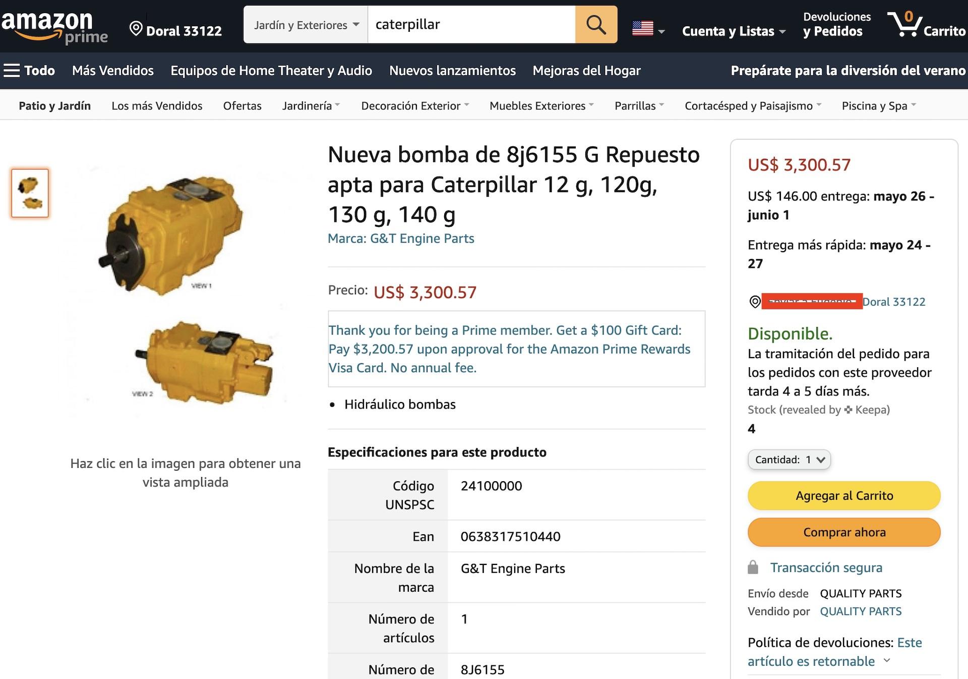 Importar por Amazon productos Repuestos para Maquinaría