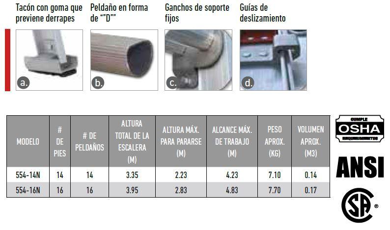 ESCALERA ALUMINIO TELESCOPICA 554-16