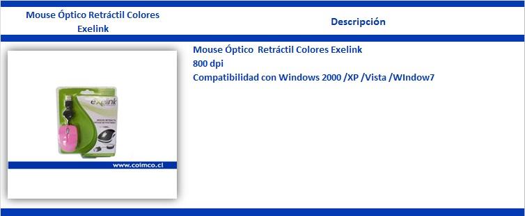 Mouse Óptico Retráctil Colores Exelink